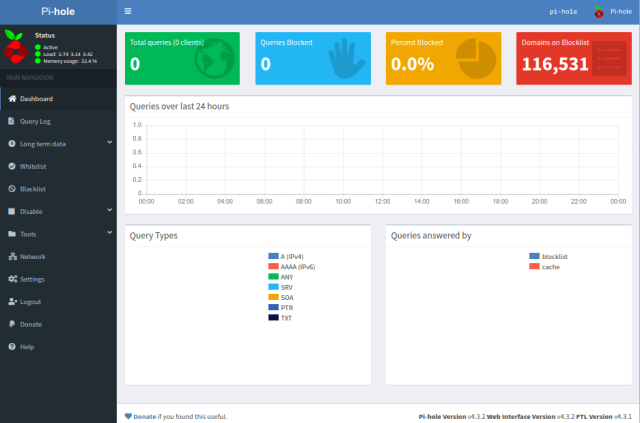 หน้า Web admin interface ของ Pi-hole