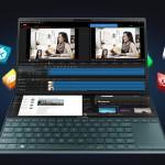 ภาพของโน้ตบุ๊ก ASUS ZenBook Pro Duo UX581 ที่กำลังเปิดโปรแกรมตัดต่อเสียงและวิดีโออยู่