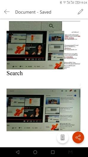 ภาพหน้าจอ Office App หลังแปลงไฟล์รูปภาพมาเป็นเอกสาร Microsoft Word
