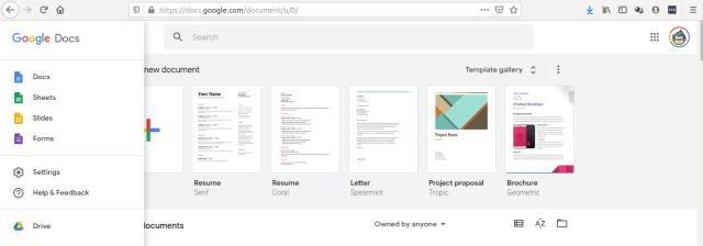 หน้าจอหลักของ Google Docs