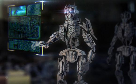 ภาพกราฟิกของหุ่นยนต์กำลังมองไปที่หน้าจอแบบโฮโลแกรมอยู่