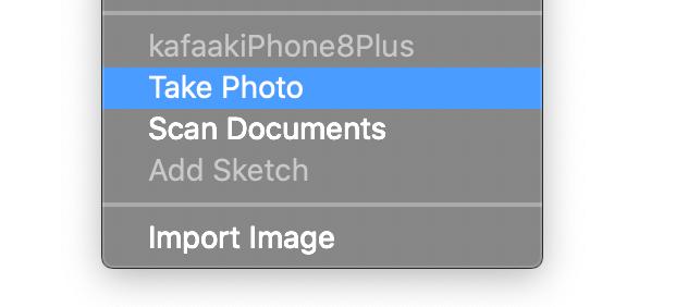 Context menu ของ Microsoft Word for macOS ที่เลือกตัวเลือก Take Photo เอาไว้
