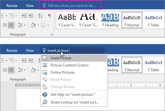 ภาพอธิบายการใช้งานฟีเจอร์ Tell Me ของ Microsoft Word