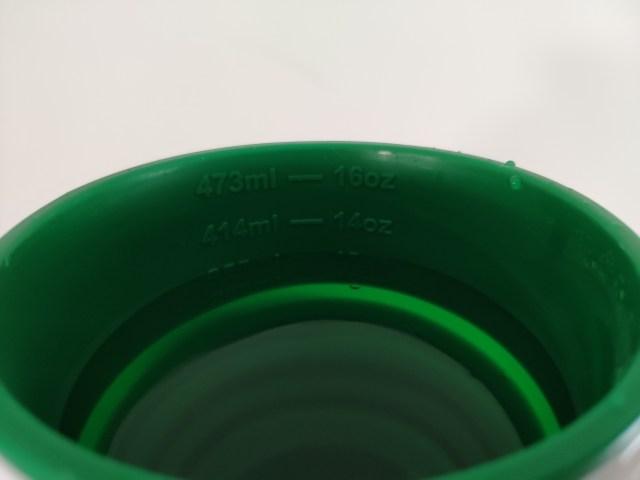ด้านในของแก้ว มีการระบุปริมาตรเอาไว้ในระดับ 12oz - 14oz