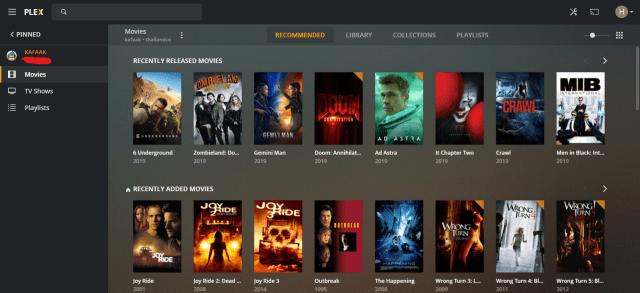 หน้าจอโปรแกรม Plex Media แสดงรายการหนังต่างๆ ที่มีอยู่ในระบบ