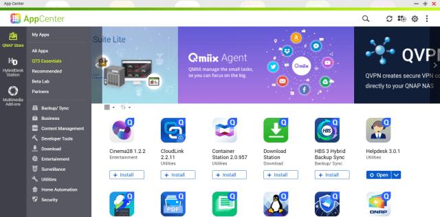 หน้าจอโปรแกรม AppCenter ของ QNAP กำลังแสดงแอปในหมวด QTS Essentials