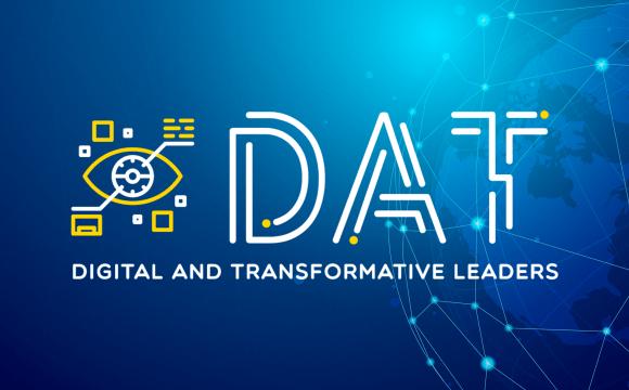 ภาพกราฟิกโลโก้หลักสูตร Digital and Transformative Leaders ของมหาวิทยาลัยหอการค้า