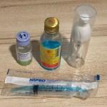 ขวดกลีเซอรีนบอแรกซ์ แอลกอฮอล์ล้างมือ ขวดปั๊มเจลเปล่า และกระบอกฉีดยาขนาด 6 มิลลิลิตร