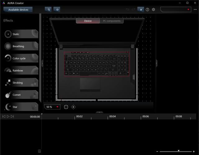 หน้าจอโปรแกรม AURA Creator เอาไว้สร้างรูปแบบของไฟวิ่งไฟกระพริบได้ตามใจ