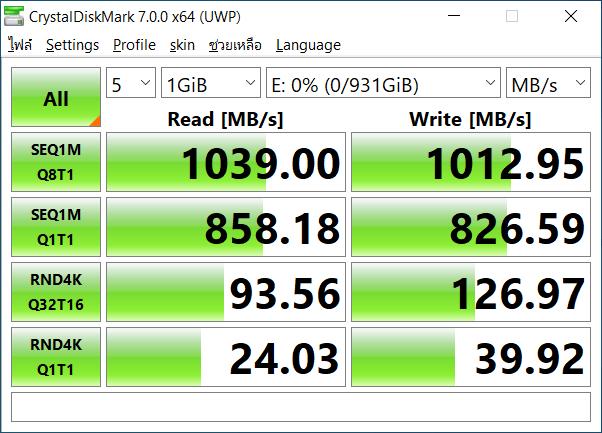 ผลการทดสอบความเร็วด้วย CrystalDiskMark 7.0.0 x64