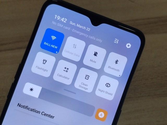 หน้าจอสมาร์ทโฟน OPPO A91 กำลังแสดงผลในส่วน Quick Settings อยู่