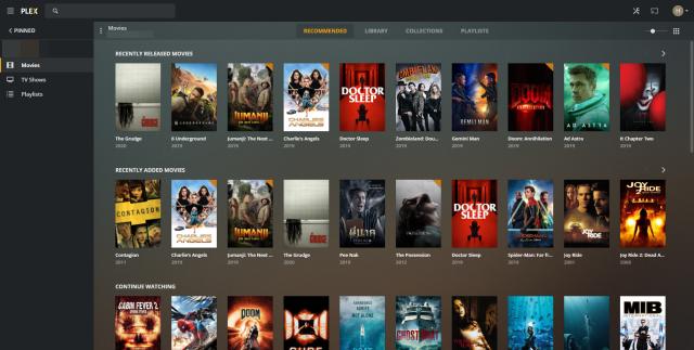 หน้าจอ Dashboard ของ Plex Media Server แสดงรายชื่อหนังหลายสิบเรื่อง