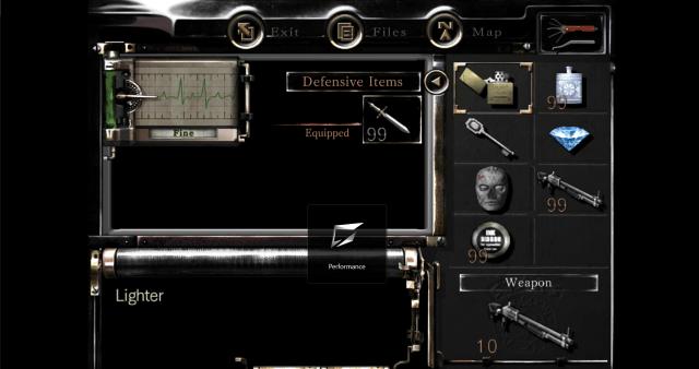 หน้าจอ Inventory ของตัวละครในเกม Resident Evil Remastered HD