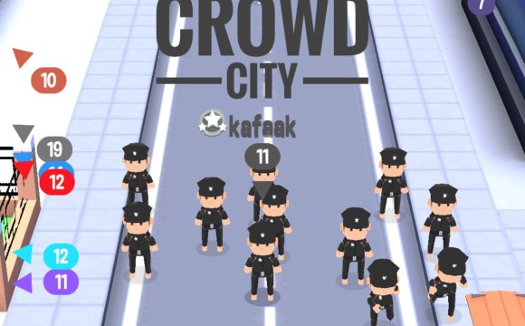 ฉากหนึ่งในเกม Crowd City ตัวละครใส่ชุดตำรวจจำนวน 11 ตัว ยืนอยู่บนถนน