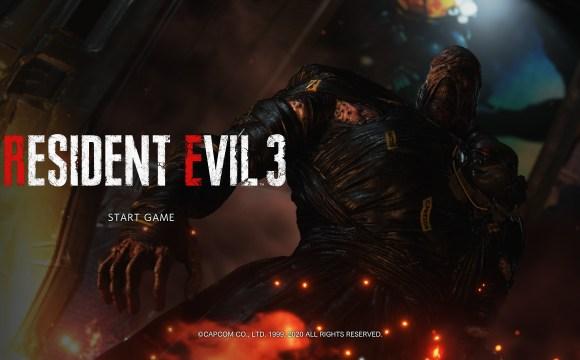 หน้าจอเข้าเกม Resident Evil 3 มี Nemesis เป็นแบ็กกราวด์