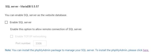 หน้าจอตั้งค่าการใช้งาน SQL server บน QNAP NAS