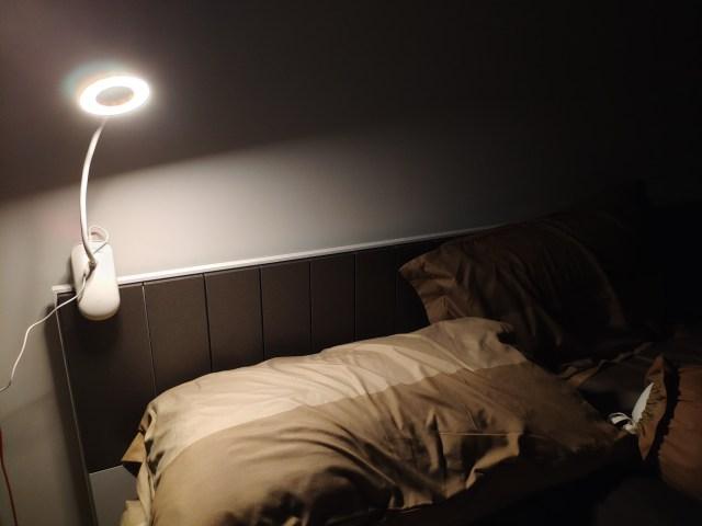 ภาพแสดงความสว่างของไฟโคมไฟหัวเตียง