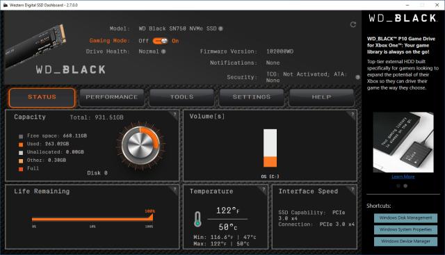 หน้าจอโปรแกรม Western Digital SSD Dashboard 2.7.0.0 แสดงสถานะของ WD Black SN750