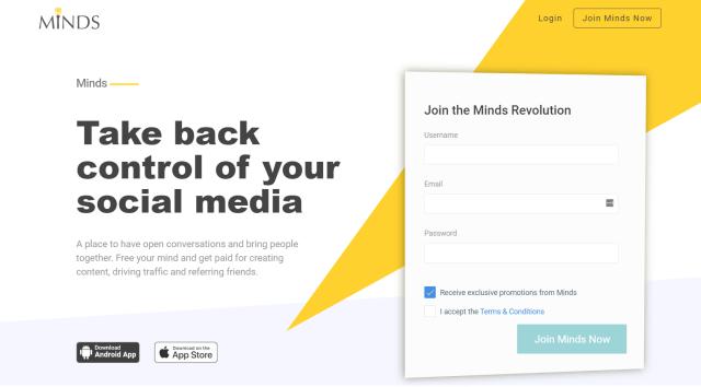 หน้าเว็บไซต์ minds.com แสดงแบบฟอร์มสำหรับสมัครใช้งานโซเชียลมีเดียชื่อ Minds