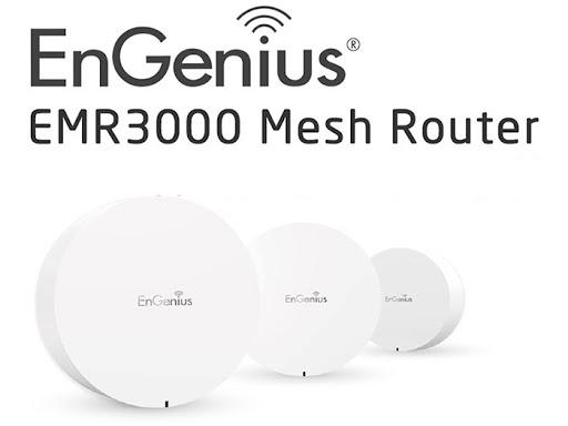 ภาพของ EnGenius EMR3000 Mesh Router เป็นอุปกรณ์ทรงกลมแบบเม็ดยา สีขาว 3 ชิ้น