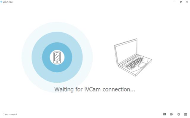หน้าจอโปรแกรม iVCam บน Windows มีอนิเมชันแสดงสถานะว่ากำลังค้นหาสมาร์ทโฟนที่มีแอป iVCam อยู่