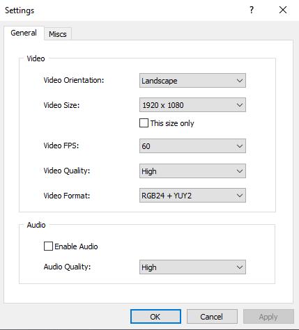 หน้าจอการตั้งค่าของโปรแกรม iVCam บน Windows 10