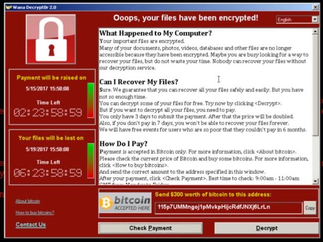 หน้าต่างการแจ้งเตือนของ Ransomware ชื่อ WannaCry