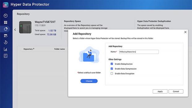 หน้าจอแอป Hyper Data Protector