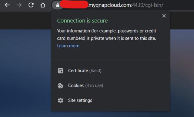หน้าจออธิบายการเชื่อมต่อที่ปลอดภัยของ Google Chrome แสดงให้เห็นว่าการเชื่อมต่อกับ QNAP NAS ผ่านบริการ myQNAPcloud ของผมมีความปลอดภัย ได้รับการเข้ารหัส
