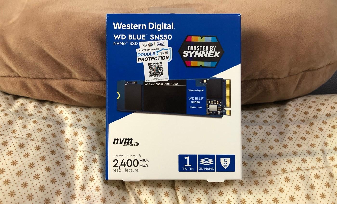 กล่องของ WD Blue SSD NVMe SN550 1TB