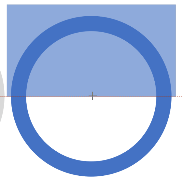 ภาพหน้าจอโปรแกรม PowerPoint ตอนที่สร้างรูปร่างสี่เหลี่ยมผืนผ้ามาปิดทับรูปวงกลมกลวง