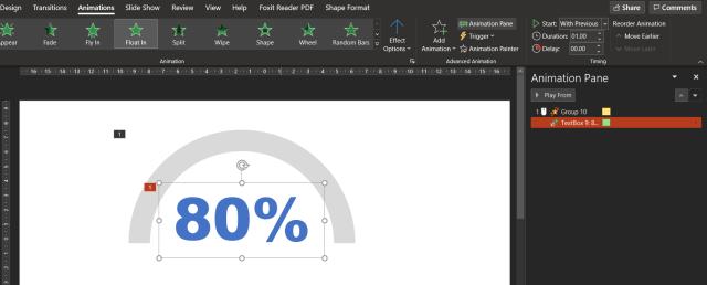 หน้าจอโปรแกรม PowerPoint แสดงการตั้งค่าระยะเวลาการแสดงอนิเมชัน Float in ของตัวเลข 80% เป็น 1 วินาที