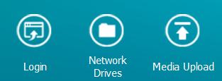 ส่วนหนึ่งของหน้าจอ Qfinder Pro แสดงตัวเลือก Login, Network Drives และ Media Upload
