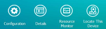 ส่วนหนึ่งของหน้าจอ Qfinder Pro แสดงตัวเลือก Configuration, Details, Resource Monitor และ Locate This Device