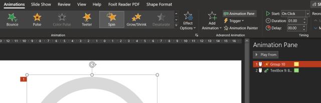 หน้าจอโปรแกรม PowerPoint แสดงการตั้งค่าระยะเวลาการแสดงอนิเมชัน Spin เป็น 1 วินาที