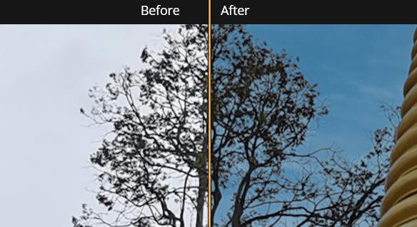 ภาพก่อนและหลังการเปลี่ยนท้องฟ้าเปรียบเทียบกัน โดยขยายภาพไปที่บริเวณที่เป็นกิ่งของต้นไม้