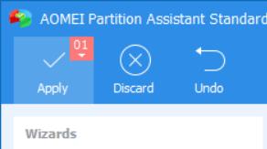 หน้าจอโปรแกรม AOMEI Partition Assistant Standard เตรียมคลิกปุ่ม Apply