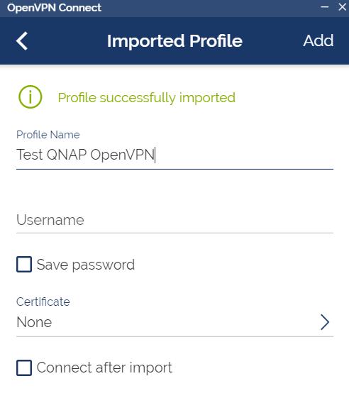 หน้าจอตั้งค่า Profile ของ OpenVPN