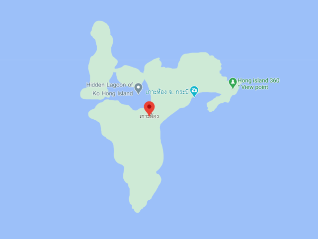 แผนที่เกาห้อง แสดงให้เห็นถึงฝั่งเกาะห้องลากูนทางตะวันตก และ