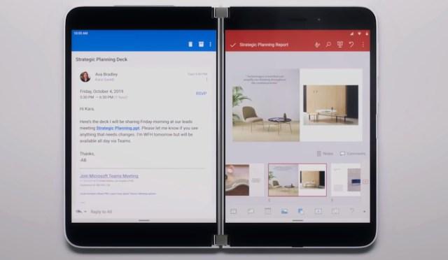 ตัวอย่างการใช้งาน Microsoft Surface Duo ที่ใช้ Outlook และ PowerPoint พร้อมกัน
