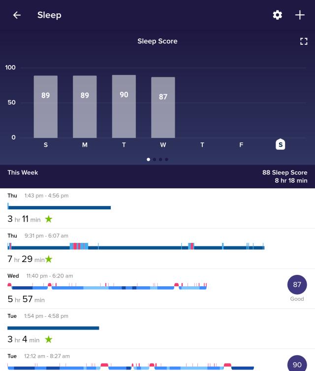 หน้าจอแอป Fitbit แสดงผลการตรวจวัดการนอนในแต่ละคืน