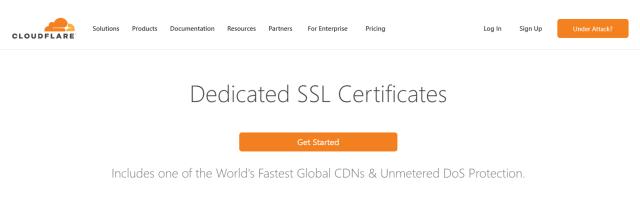 หน้าเว็บของ Cloudflare ที่อธิบายบริการ Dedicated SSL Certificates