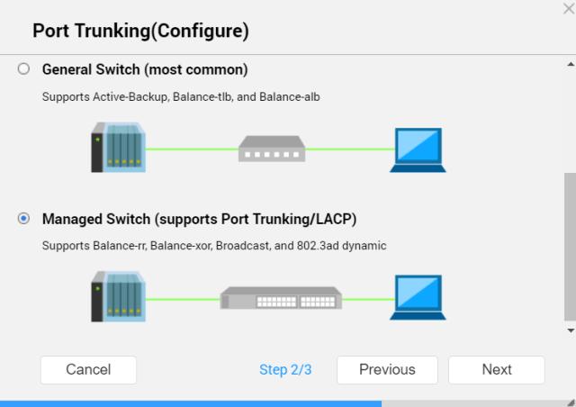 หน้าจอการตั้งค่า Port trunking ของ QNAP NAS