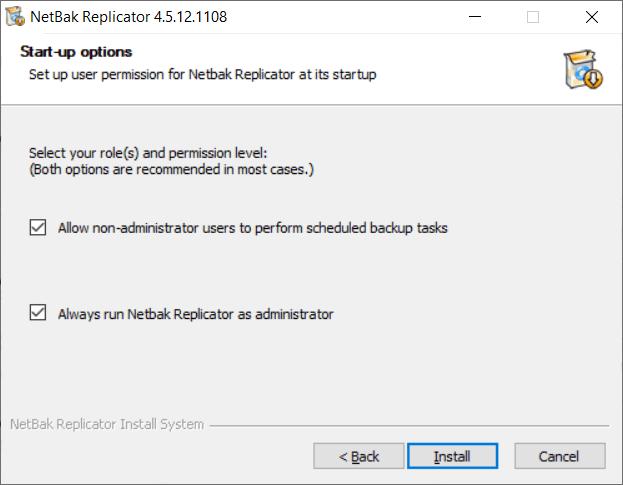 หน้าจอติดตั้งโปรแกรม NetBak Replicator ในส่วนของการเลือกออปชันสำหรับการเริ่มโปรแกรม