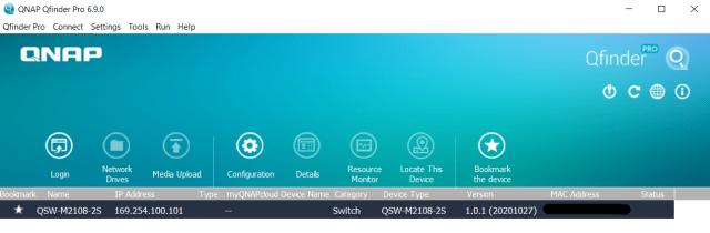 หน้าจอโปรแกรม QAN Qfinder Pro 6.9