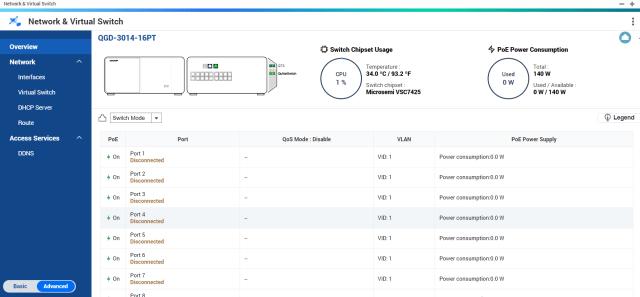 หน้าจอ Network & Virtual Switch ของ QNAP NAS รุ่น QGD-3014-16PT-8G