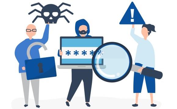 กราฟิกเกี่ยวกับเรื่องของความมั่นคงปลอดภัยออนไลน์ เป็นภาพที่สื่อให้ระวังพวกแฮกเกอร์