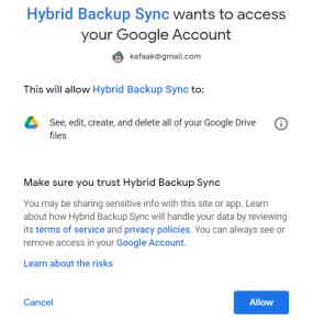 หน้าจอแจ้งเตือนการเข้าถึงข้อมูลในบัญชี Google account ของ Hybrid Backup Sync