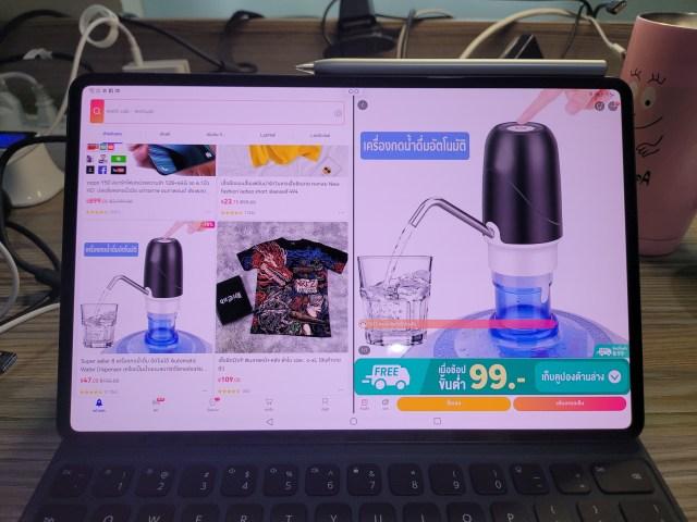 """ภาพของ Huawei MatePad Pro 12.6"""" ตอนเปิดแอป Lazada ในโหมด Lanscape"""