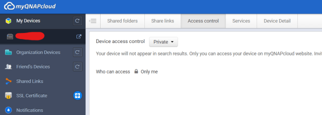 ตัวเลือกการตั้งค่า Device access control บน myQNAPcloud.com